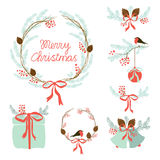 Cute Vintage Hand Drawn Christmas Holiday Floral Wreath collection Stock Photo