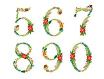 Cute vintage hand drawn rustic floral Christmas alphabet Royalty Free Stock Photo