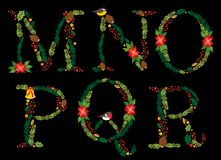 Cute vintage hand drawn rustic floral Christmas alphabet Stock Images