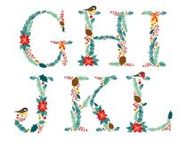 Cute vintage hand drawn rustic floral Christmas alphabet Royalty Free Stock Photos