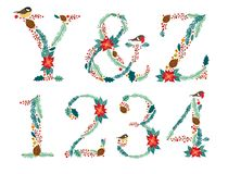 Cute vintage hand drawn rustic floral Christmas alphabet Stock Photography