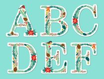Cute vintage hand drawn rustic floral Christmas alphabet Royalty Free Stock Image