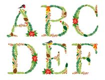 Cute vintage hand drawn rustic floral Christmas alphabet. Ideal as winter holidays decoration Royalty Free Stock Images
