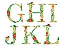 Cute vintage hand drawn rustic floral Christmas alphabet. Ideal as winter holidays decoration Stock Photography