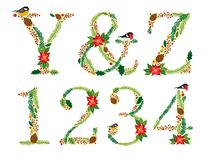 Cute vintage hand drawn rustic floral Christmas alphabet Stock Image