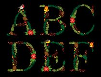 Cute vintage hand drawn rustic floral Christmas alphabet Stock Photo