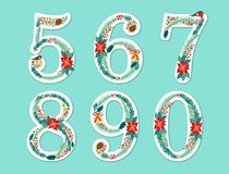 Cute vintage hand drawn rustic floral Christmas alphabet Stock Photos