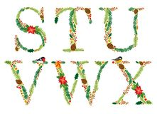 Cute vintage hand drawn rustic floral Christmas alphabet. Ideal as winter holidays decoration Royalty Free Stock Image