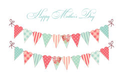 Cute vintage Happy Mother`s Day card as heart shaped shabby chic textile bunting flags Stock Photo