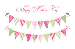 Cute vintage Happy Mother`s Day card as heart shaped shabby chic textile bunting flags Royalty Free Stock Image