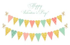 Cute vintage heart shaped glitter and shabby chic style bunting flags ideal for Valentines Day etc. Cute vintage heart shaped glitter and shabby chic style Stock Photography