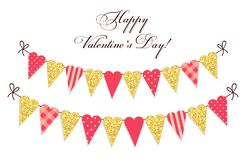 Cute vintage heart shaped glitter and shabby chic style bunting flags ideal for Valentines Day etc. Cute vintage heart shaped glitter and shabby chic style Stock Image