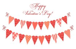 Cute vintage heart shaped glitter and shabby chic style bunting flags ideal for Valentines Day etc. Cute vintage heart shaped glitter and shabby chic style Stock Photos
