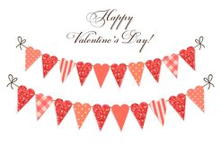 Cute vintage heart shaped glitter and shabby chic style bunting flags ideal for Valentines Day etc. Cute vintage heart shaped glitter and shabby chic style Stock Images