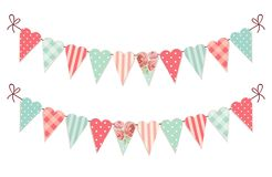 Cute vintage heart shaped shabby chic textile bunting flags. Ideal for Valentines Day, wedding, birthday, bridal shower, baby shower, retro party decoration etc Stock Photography