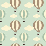 Cute vintage hot air balloon seamless pattern background illustration Stock Image
