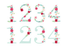 Cute vintage numbers with hand drawn rustic flowers Royalty Free Stock Photography