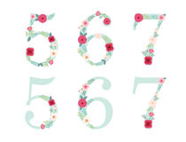 Cute vintage numbers with hand drawn rustic flowers Stock Photos