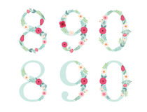 Cute vintage numbers with hand drawn rustic flowers Royalty Free Stock Photos