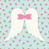 Cute vintage patchwork of angel wings with shabby chic bow Stock Image