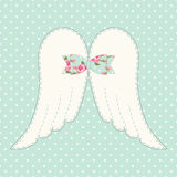 Cute vintage patchwork of angel wings with shabby chic bow Stock Photo
