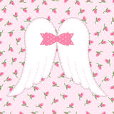 Cute vintage patchwork of angel wings with shabby chic bow Stock Photography