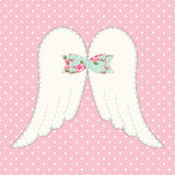 Cute vintage patchwork of angel wings with shabby chic bow Royalty Free Stock Photos