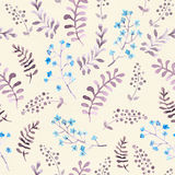 Cute vintage repeat pattern with naive flowers and leaves. Watercolor Stock Image