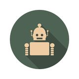 Cute vintage robot icon. Cute vintage robot. Robotics industry relative image. Web Icon in Flat Design with Long Shadows Royalty Free Stock Photo