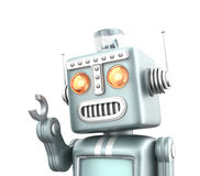 Cute vintage robot isolated on white background Royalty Free Stock Photography