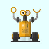 Cute vintage robot technology machine future science toy and cyborg futuristic design robotic element icon character. Vector illustration. Cartoon space retro Stock Photography