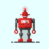Cute vintage robot technology machine future science toy and cyborg futuristic design robotic element icon character. Vector illustration. Cartoon space retro Stock Image