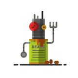 Cute vintage robot technology machine future science toy and cyborg futuristic design robotic element icon character. Vector illustration. Cartoon space retro Stock Photo