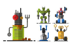 Cute vintage robot technology machine future science toy and cyborg futuristic design robotic element icon character. Vector illustration. Cartoon space retro Royalty Free Stock Images