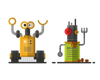 Cute vintage robot technology machine future science toy and cyborg futuristic design robotic element icon character. Vector illustration. Cartoon space retro Stock Photos