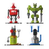 Cute vintage robot technology machine future science toy and cyborg futuristic design robotic element icon character Stock Photo