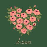Cute vintage roses arranged in a heart shape Stock Images