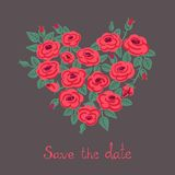 Cute vintage roses arranged in a heart shape Royalty Free Stock Image