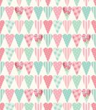 Cute vintage seamless pattern with heart shapes in shabby chic style. Ideal for Valentines Day, wedding, birthday, bridal shower, baby shower, retro party Stock Images