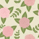 Cute vintage seamless pattern with roses. And leaves Royalty Free Stock Image