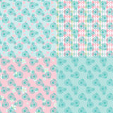 Cute vintage seamless pattern set with retro bicycle Royalty Free Stock Photography
