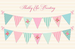 Cute vintage shabby chic textile bunting flags ideal for baby shower, wedding, birthday. Bridal shower, retro party decoration etc Royalty Free Stock Photos