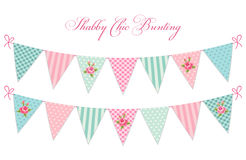 Cute vintage shabby chic textile bunting flags ideal for baby shower, wedding, birthday. Bridal shower, retro party decoration etc Royalty Free Stock Photography