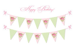 Cute vintage shabby chic textile bunting flags ideal for baby shower, wedding, birthday. Bridal shower, retro party decoration etc Stock Images