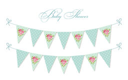 Cute vintage shabby chic textile bunting flags ideal for baby shower, wedding, birthday. Bridal shower, retro party decoration etc Stock Image