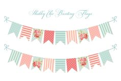 Cute vintage shabby chic textile bunting flags. Ideal for wedding, birthday, bridal shower, baby shower, retro party decoration etc Stock Images