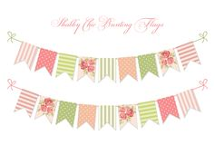 Cute vintage shabby chic textile bunting flags. Ideal for wedding, birthday, bridal shower, baby shower, retro party decoration etc Royalty Free Stock Photos