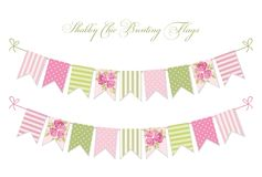 Cute vintage shabby chic textile bunting flags. Ideal for wedding, birthday, bridal shower, baby shower, retro party decoration etc Royalty Free Stock Images