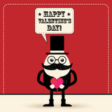 Cute vintage style cartoon character with top hat say happy vale Stock Photography