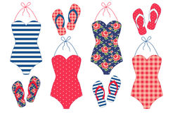 Cute vintage swimsuits and flip-flops Royalty Free Stock Images